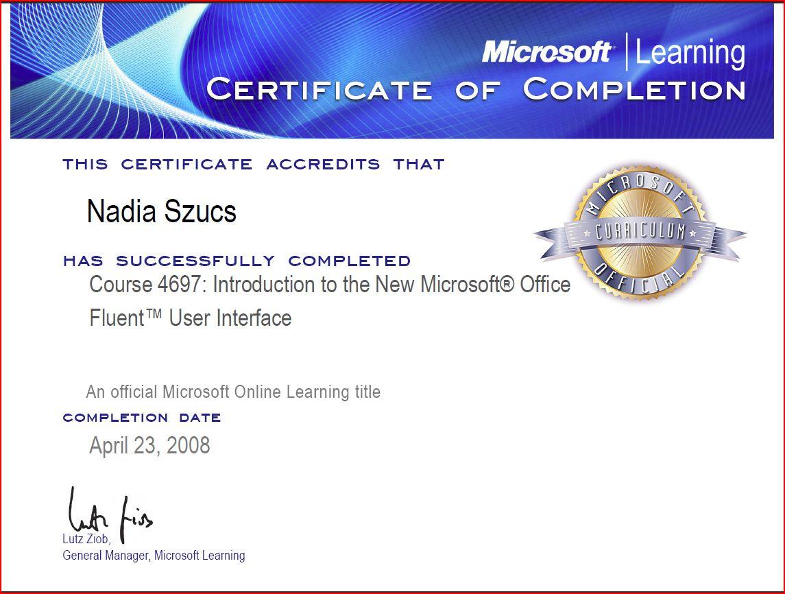 certificate in microsoft office
